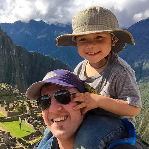 Kevin Wagar hiking the Inka Trail with kids