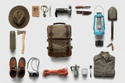 collection of family hiking gear