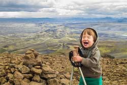 young kids hiking in Iceland