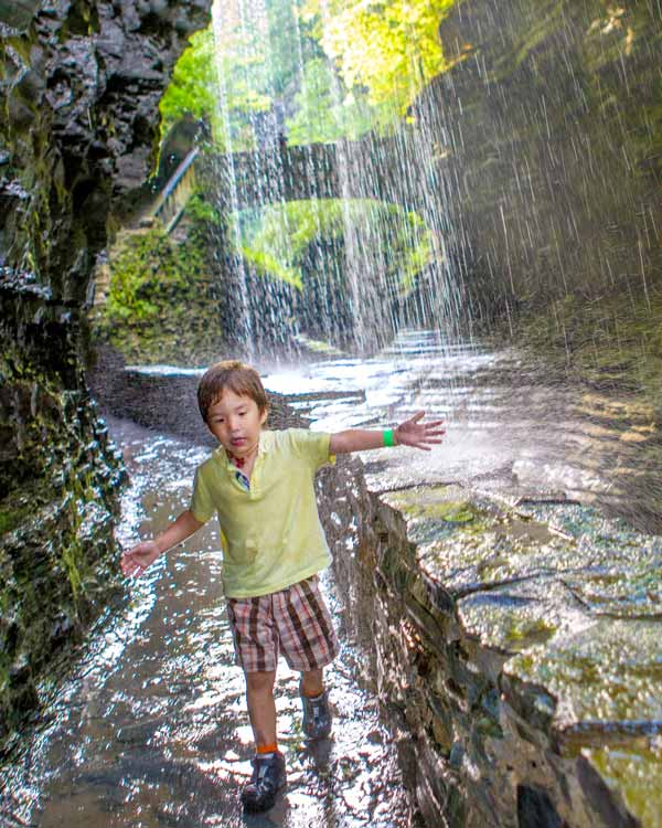 Young boy hiking in Watkins Glen, New York